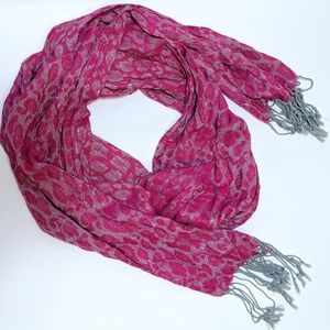 New York & Co. Hot Pink Sparkly Leopard Scarf